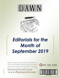 Monthly DAWN Editorials September 2019