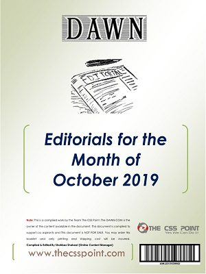 Monthly DAWN Editorials October 2019
